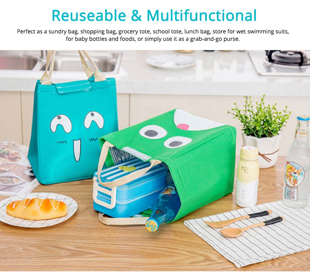 Cartoon Pattern Insulated Bag with Reinforced Handle, Portable Picnic Lunch Waterproof Cooler Bag for School, Office, Camping 6