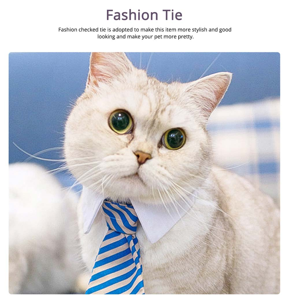 Fashion Ultrasoft Cotton Checked Business Pet Tie, Breathable Wearable Tie Scarf Costume Decoration for Small Pets 4