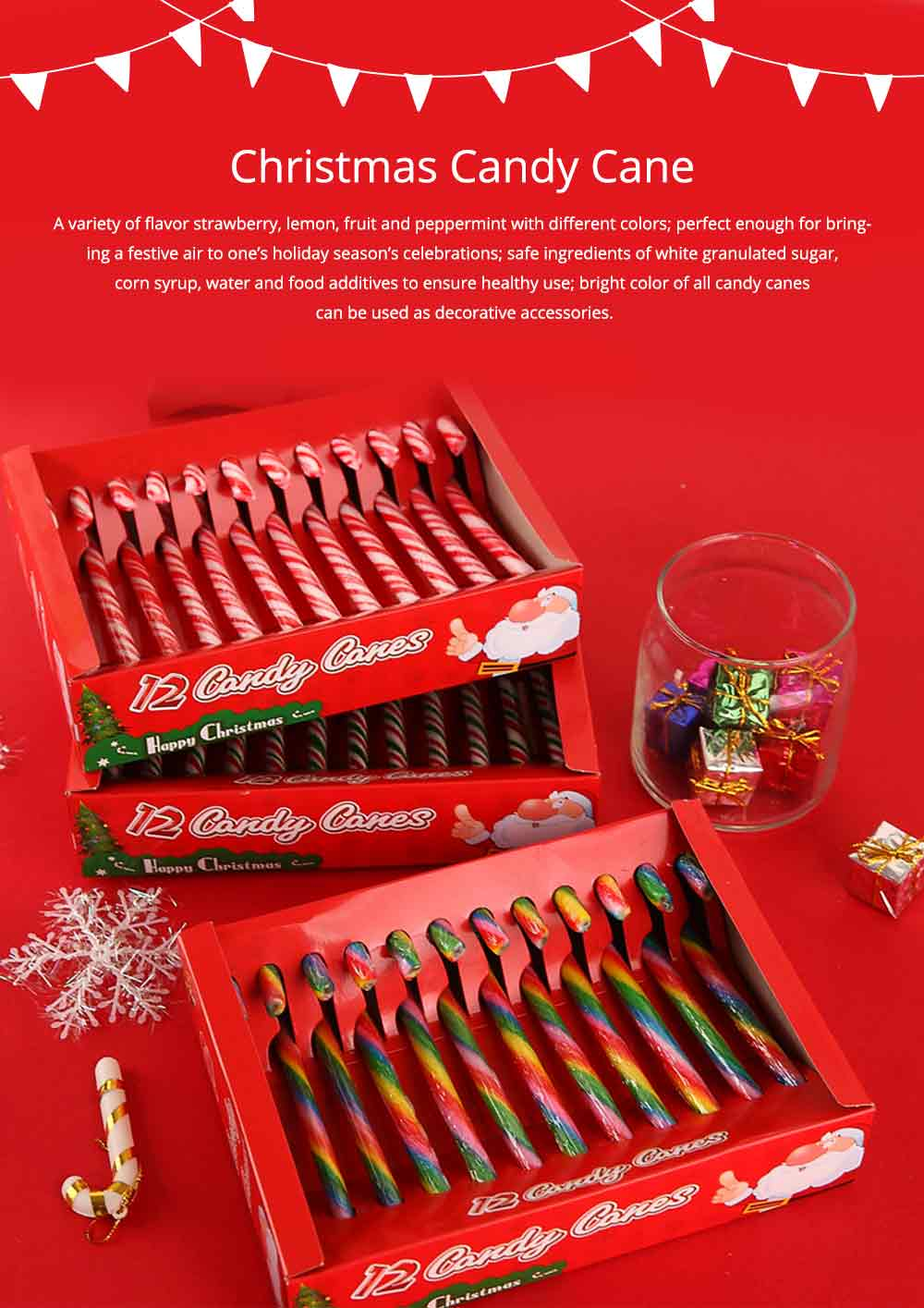 Candy Cane Gift Box for Easter Day, Rainbow Color Lollipop Creative Present Cane Candy, Multiple Taste 7
