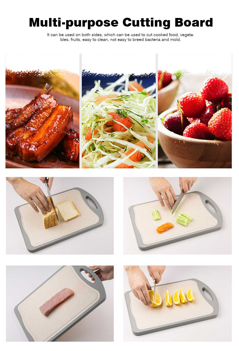 Whole Bamboo Fiber Composite Cutting Board, Healthy Non-slip Cutting Board for Cutting Cooked Food, Vegetables, Fruits 6