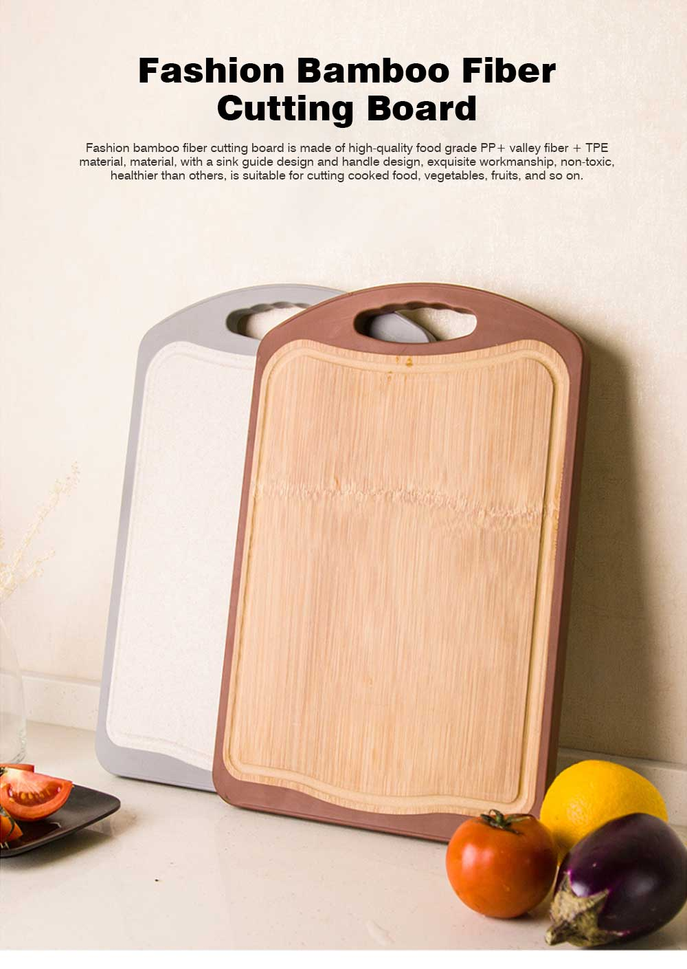 Whole Bamboo Fiber Composite Cutting Board, Healthy Non-slip Cutting Board for Cutting Cooked Food, Vegetables, Fruits 0
