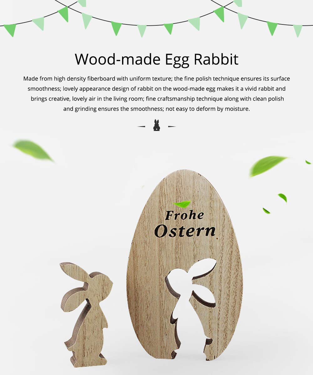 Creative Wood-made Easter Egg Rabbit Art Craft Decoration Accessory Household Ornament, Pastoral Style Egg Rabbit for Living Room Decoration 0