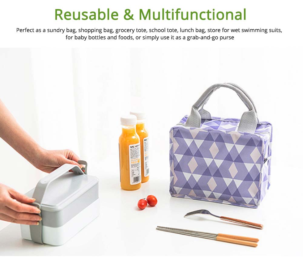Square Insulated Lunch Bag, School Home Office Essential Waterproof Insulation Bag Cooler Bag with Reinforced Handle, Smooth Zipper 6