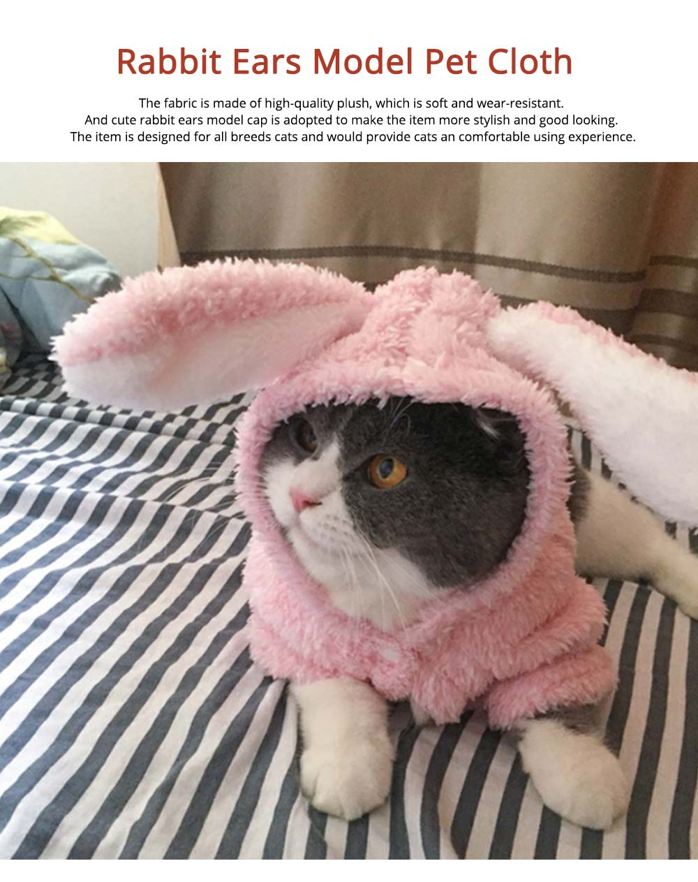 Plush Cats Two-feet Pet Clothes, Cute Rabbit Ears Model, Stylish Pet Clothes Costume Apparel 0