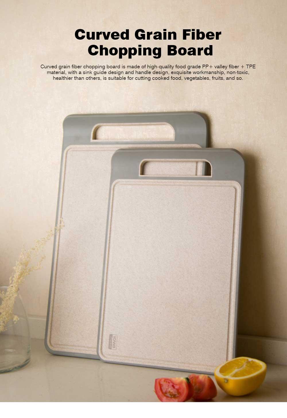 Curved Grain Fiber Chopping Board, Non-slip Cutting Board with L-shaped Handle Design 0