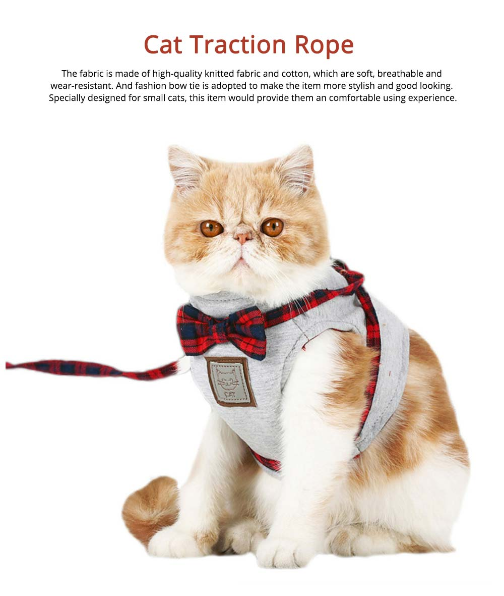 Cotton Cat Walking Traction Rope with Fashion Tie Bow, Hardness Lead Leash Rope with Convenient Magic Tape 0
