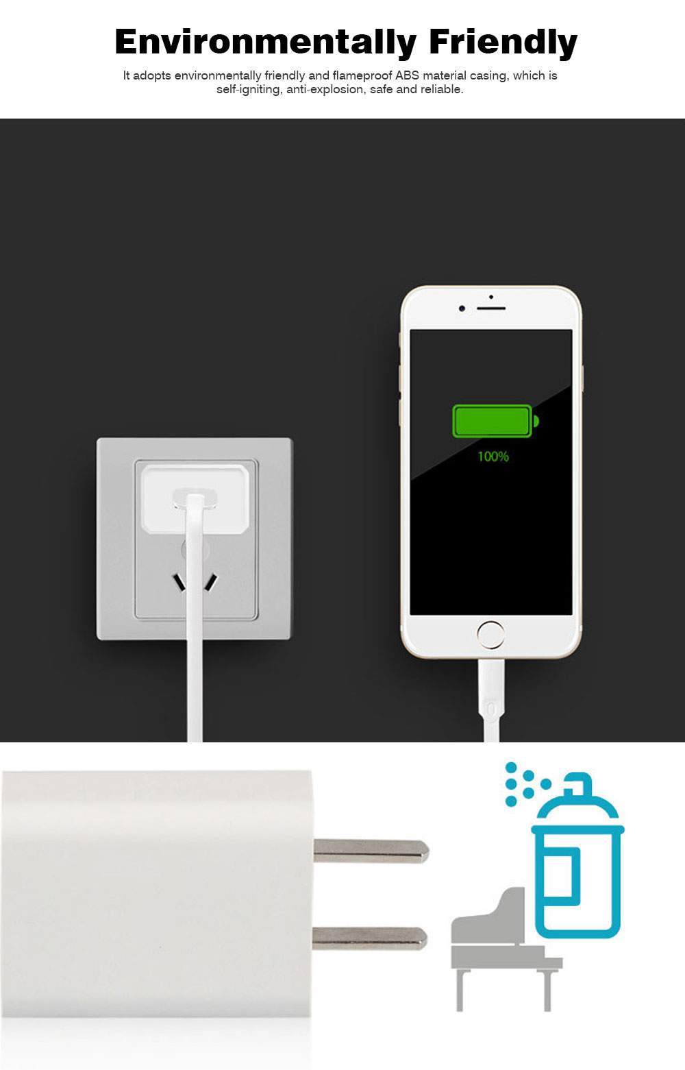 Intelligent Phone Charger, Charger for iPhone, SmartPhone, 2A USB Mobile Phone Charger 1