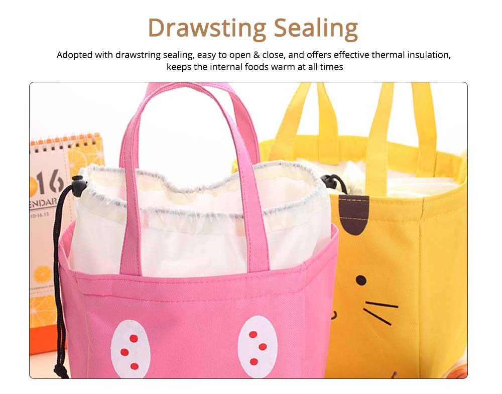 Cartoon Printed Insulated Lunch Bag with Drawsting Sealing, Thermal Insulation Cooler Function Bag for Students Office Workers 1