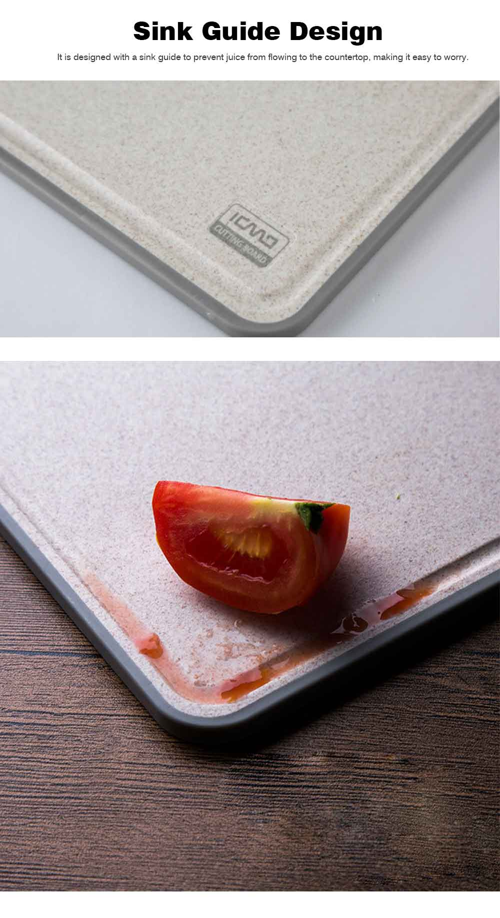 Curved Grain Fiber Chopping Board, Non-slip Cutting Board with L-shaped Handle Design 4