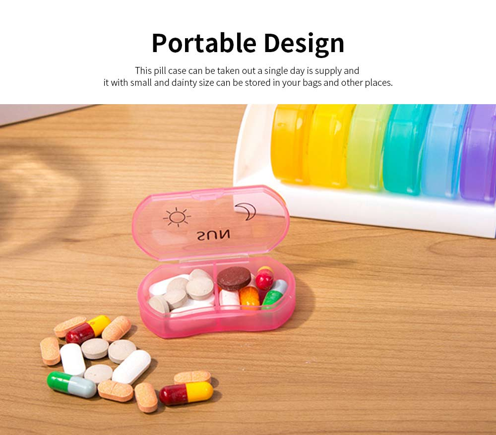 Colorful Weekly Separate Compartment Stainless Pill Case, Food-grade Plastic Medicine Drug Jewelry Storage Box with Delicate Sign 5