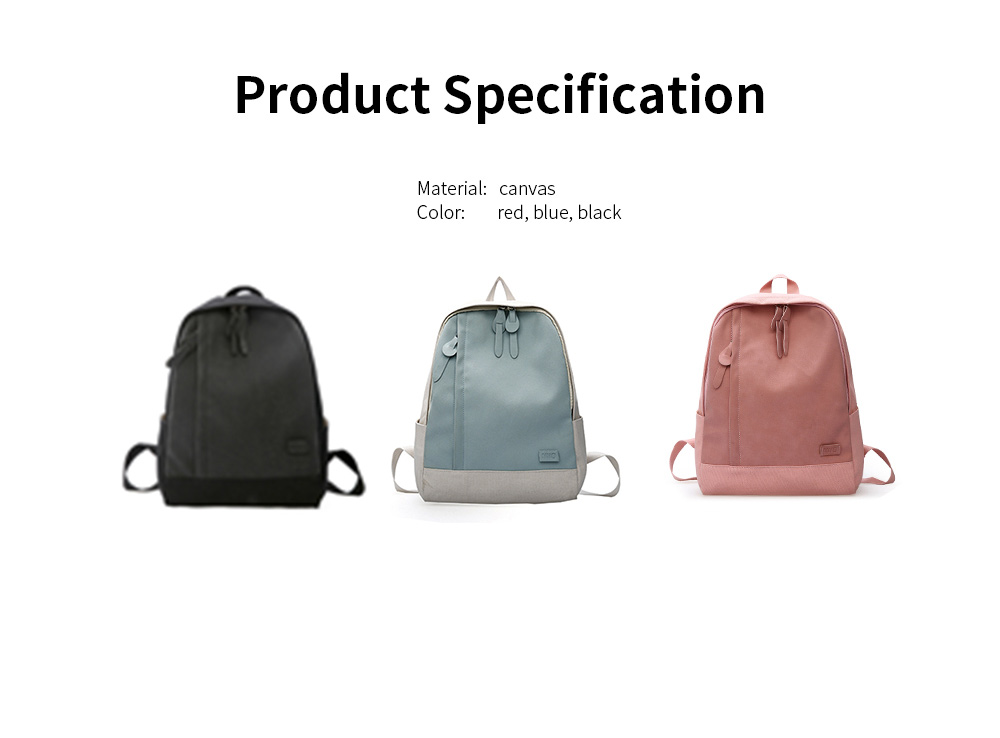 Fashion Contrast Colors Canvas Casual Backpack, Large Capacity Laptop Bag Travelling Backpack with Functional Front Pocket 7