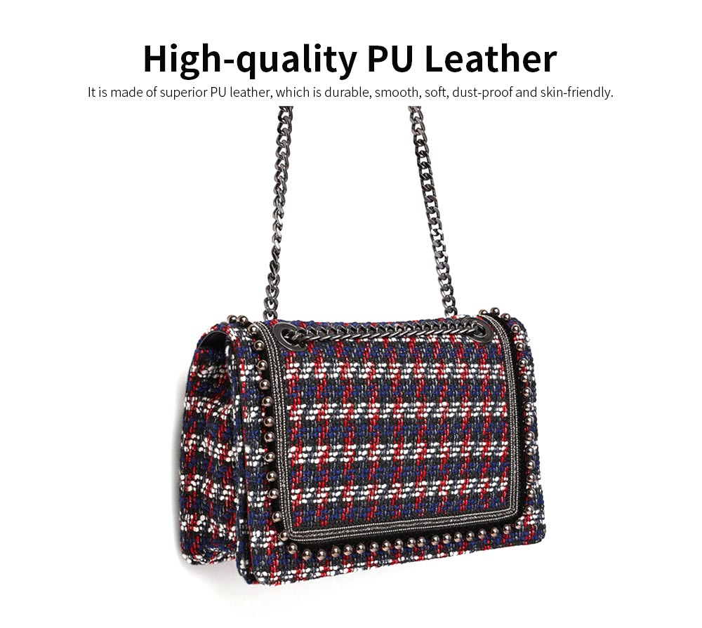 Ladies Quilted Chain Cross Body Hand Bag, Fashion Plaid PU Leather Beads Decoration Women Shoulder Bag 1
