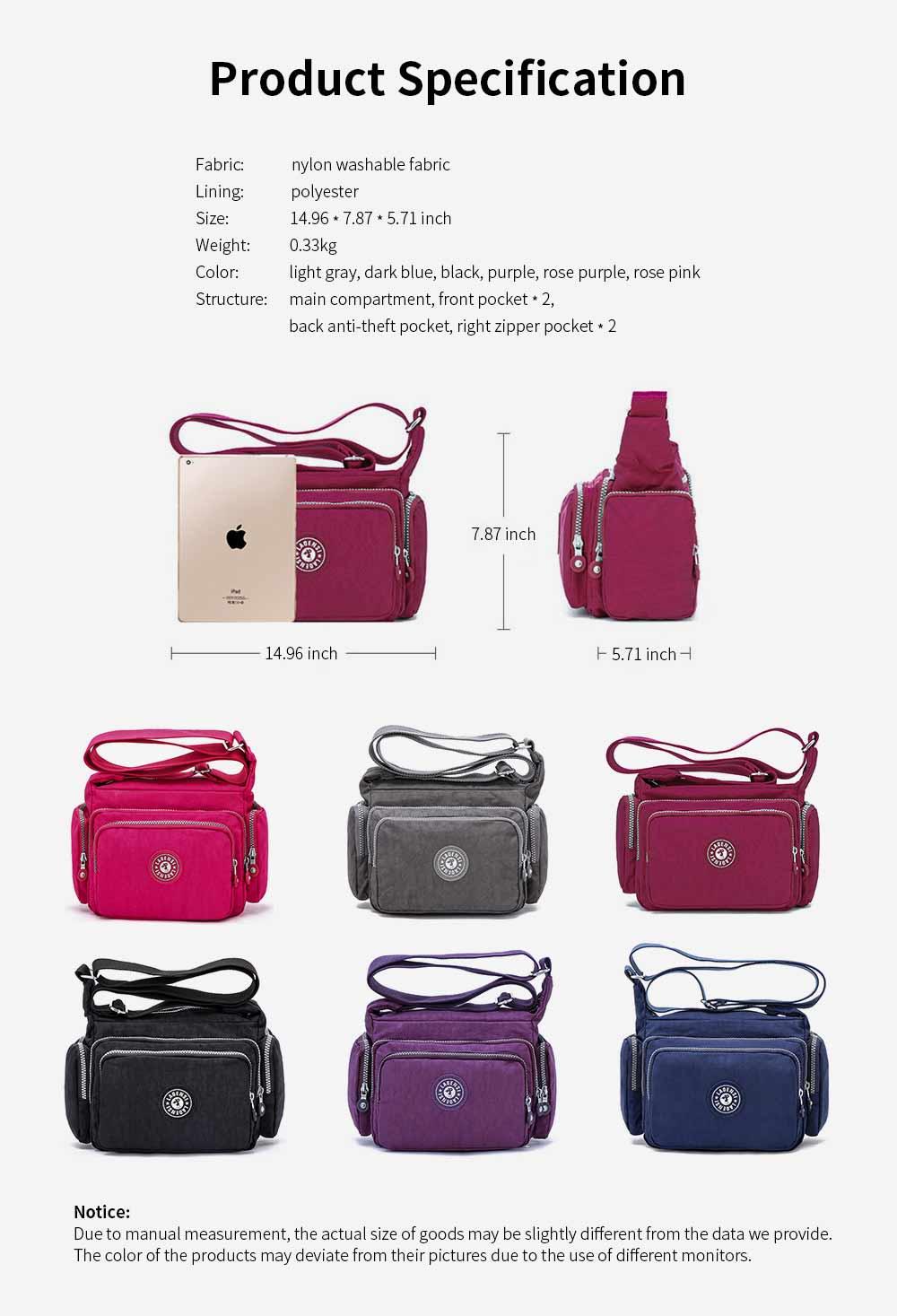 Waterproof High Density Nylon Mummy Shoulder Bag, Large Capacity Multiple Pockets Messenger Cross Body Hand Bag 5
