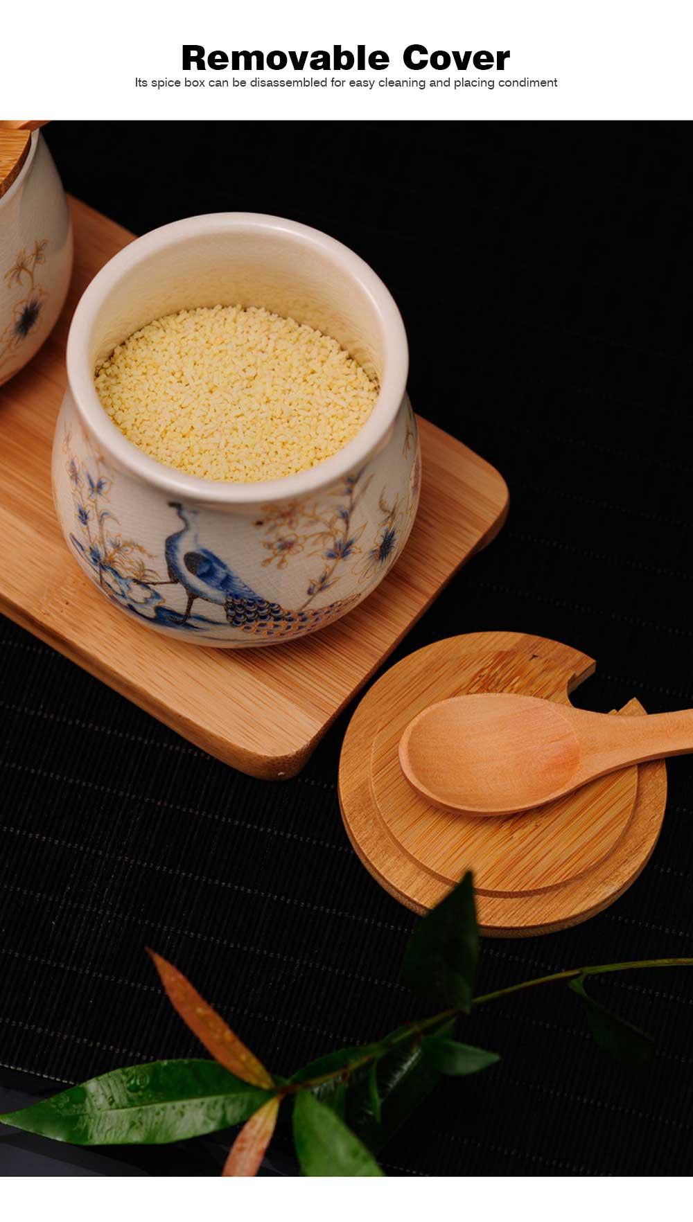 Three-piece Ceramic Seasoning Jar Set, Bamboo and Wood Ceramic Seasoning Bottle Set, with Wood Bracket 8