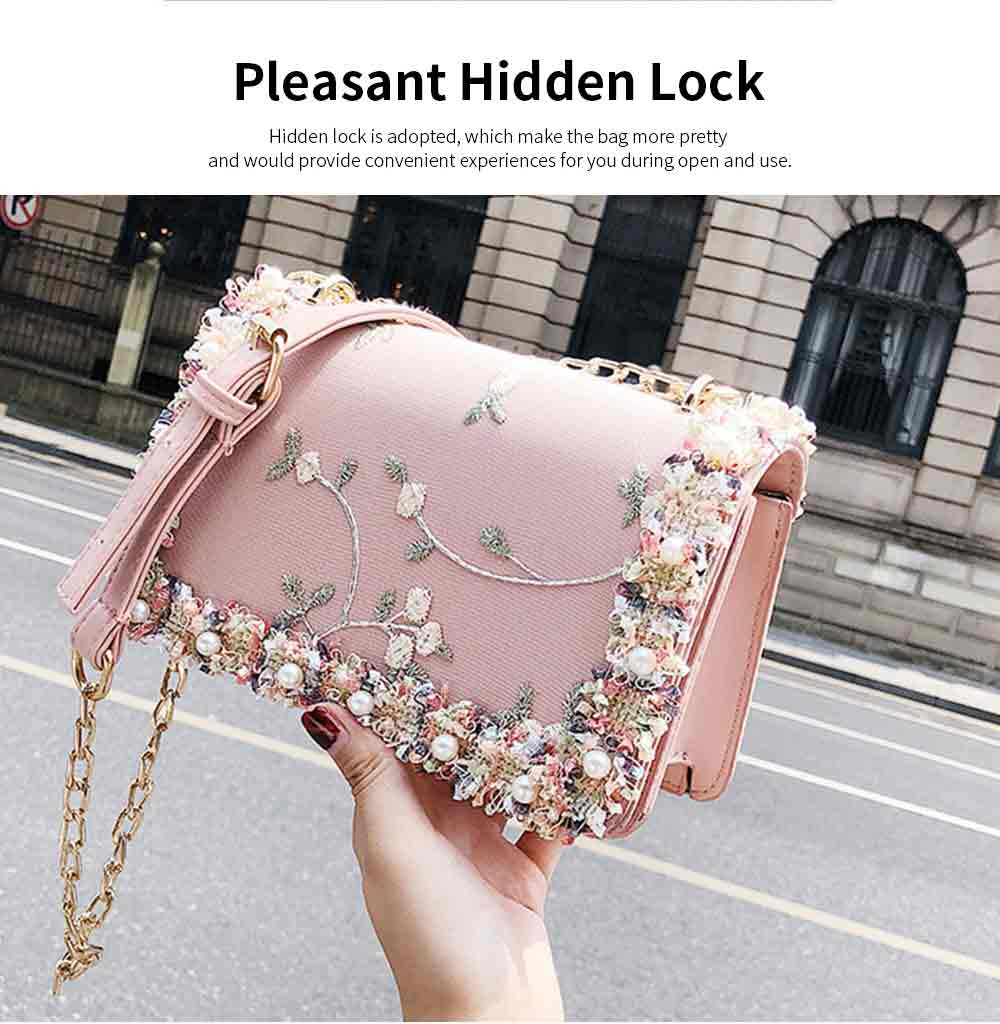 Stylish Luscious Lace Cording Women Shoulder Bag with Adjustable Shoulder Strap, PU Leather Crossbody Satchel Handbag 3