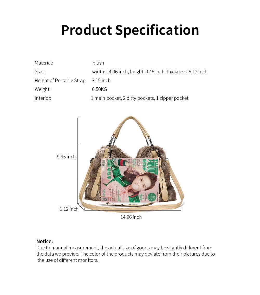 Luxury Fashion Warm Plush Women Bag with Three Methods of Use, Tote Messenger Crossbody Shoulder Bag Satchel Handbag 9