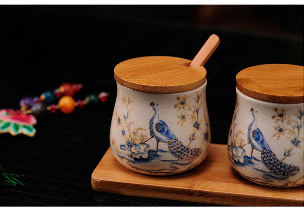 Three-piece Ceramic Seasoning Jar Set, Bamboo and Wood Ceramic Seasoning Bottle Set, with Wood Bracket 2