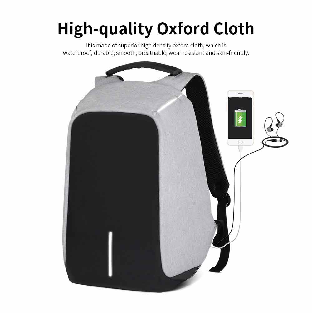 Business Waterproof Scratch-proof Oxford Cloth Casual Man Backpack, Anti-theft Shoulder Bag with USB Charging 1