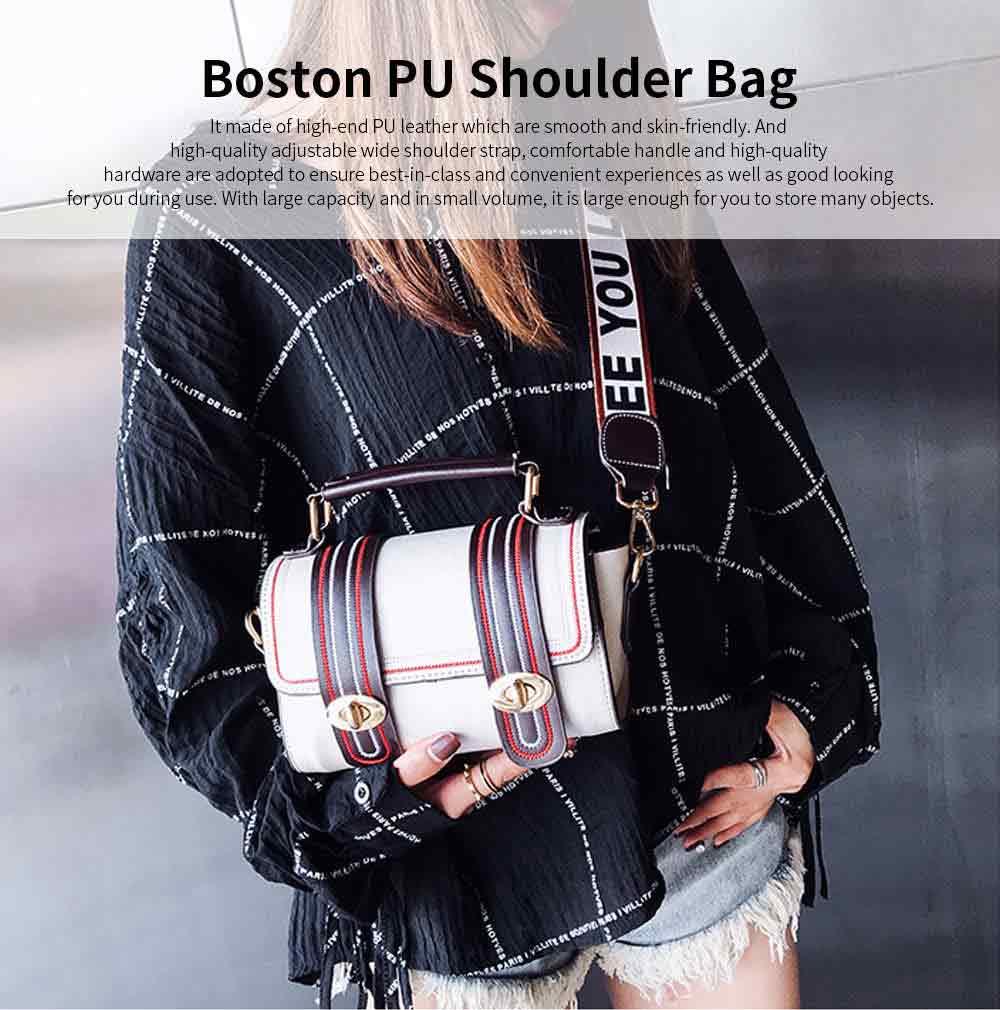 Embroidery Thread Boston Small Bag, Fashion Vintage Minimalist Ladies Shoulder Bag Handbag with Wide Shoulder Strap 0