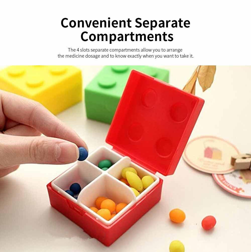 Colorful Building Blocks Pill Case, Mini Accessories Storage Box Cute Tablet Pill Medicine Organizer Container 2