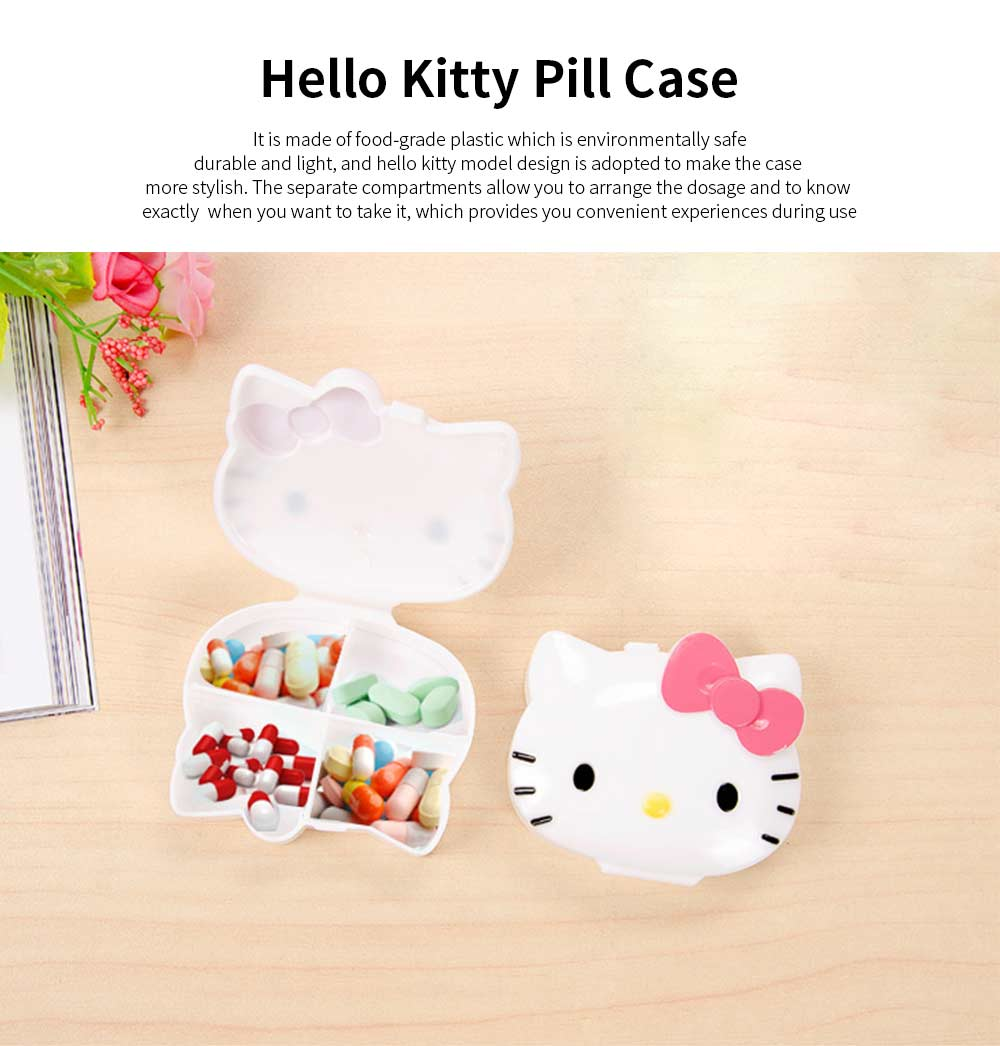 Cute Hello Kitty Medicine Pill Container Box 4 Slots 6