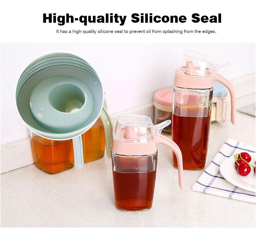 Large Glass Leak-proof Oil Tank, Olecranon Inverted Oil Bottle with Lid 4