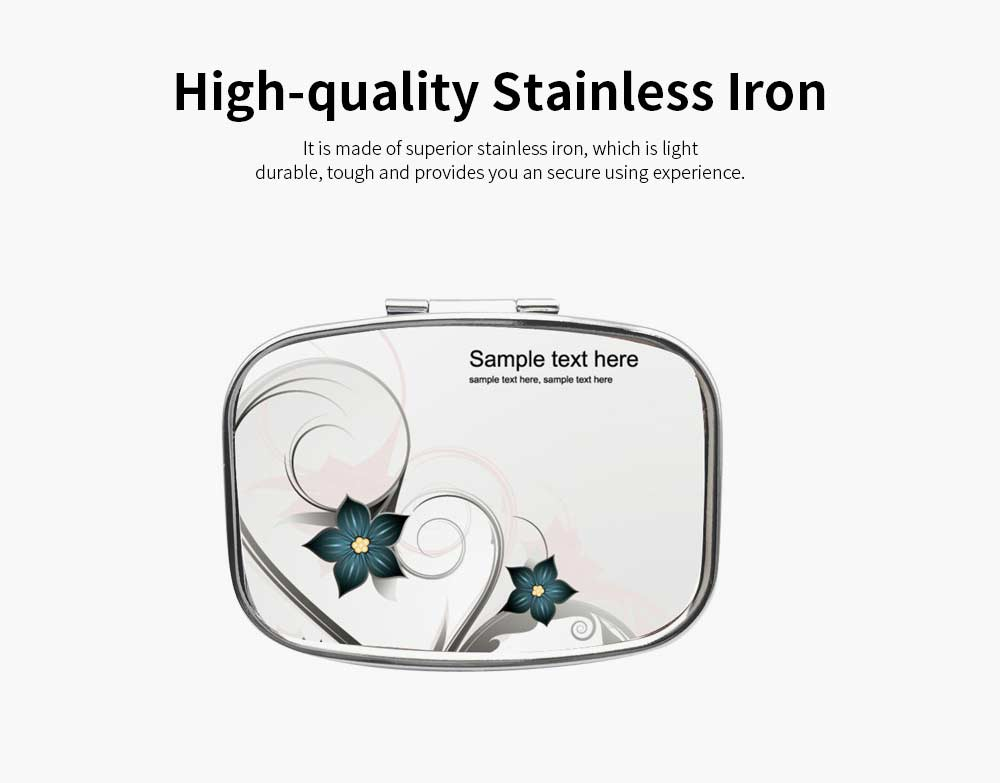 Portable Stainless Silver Rectangle Pill Case with Flora Pattern Epoxy Tickers, 2 Slots Metal Mini Medicine Chest Daily Pill Box 1