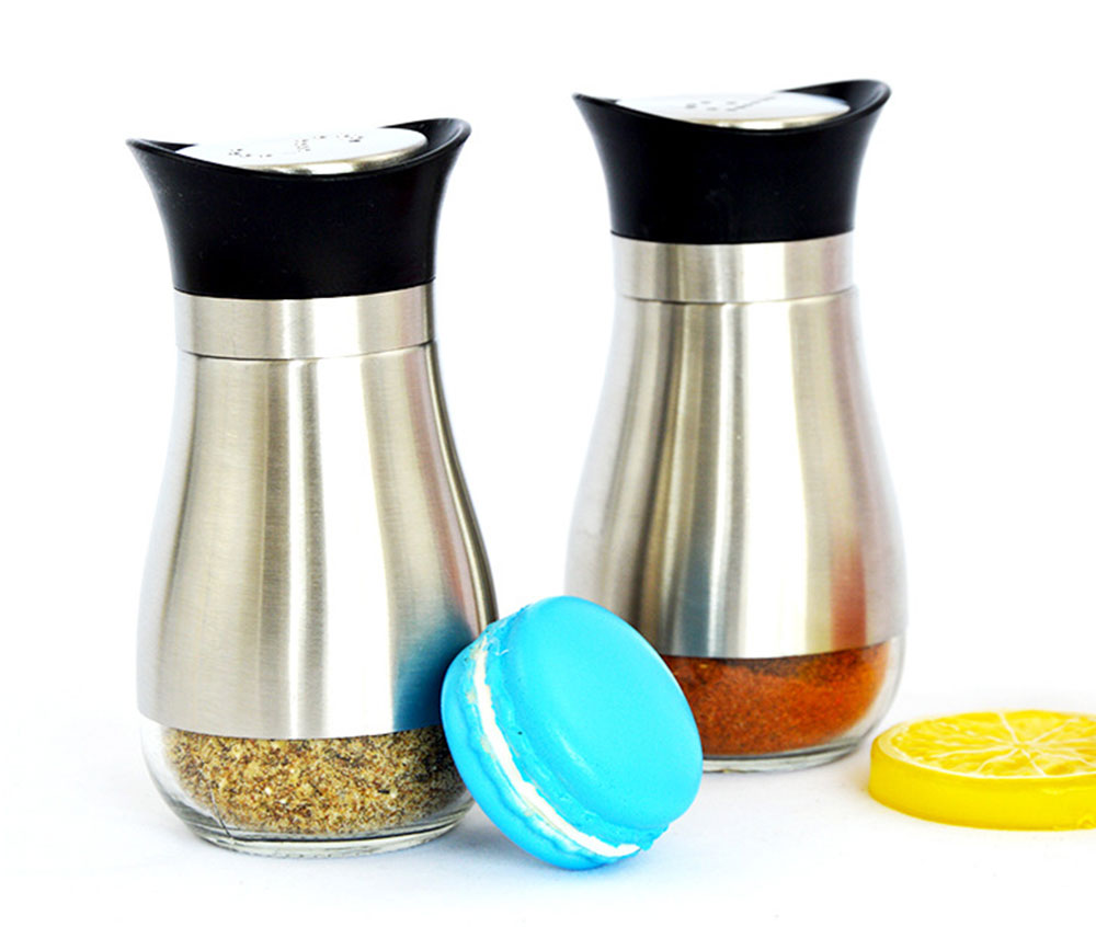 Penguin-shaped Glass Cruet for Placing Salt and Pepper, Stainless-steel Sheathed Bottle with Holes 6