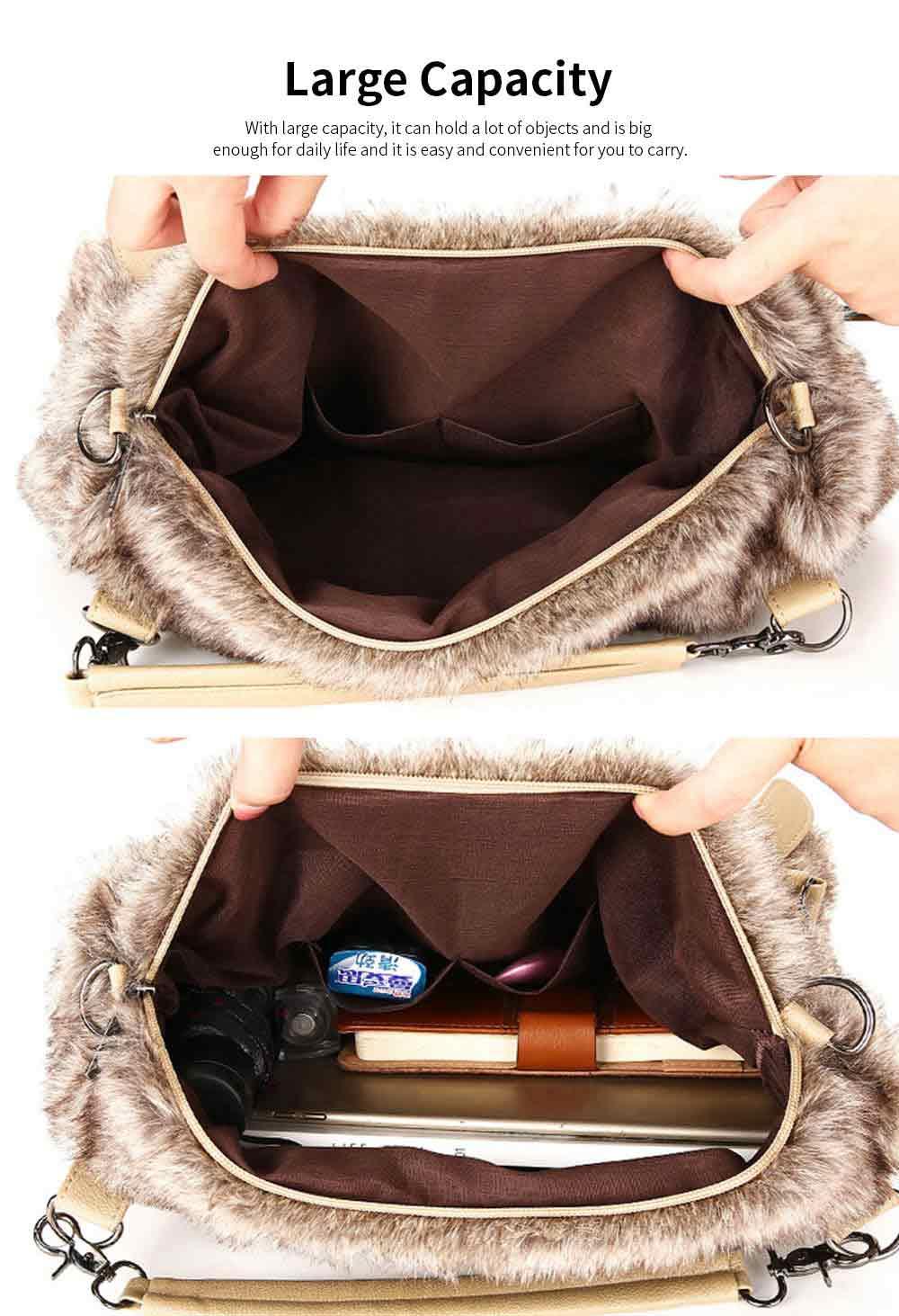 Luxury Fashion Warm Plush Women Bag with Three Methods of Use, Tote Messenger Crossbody Shoulder Bag Satchel Handbag 4