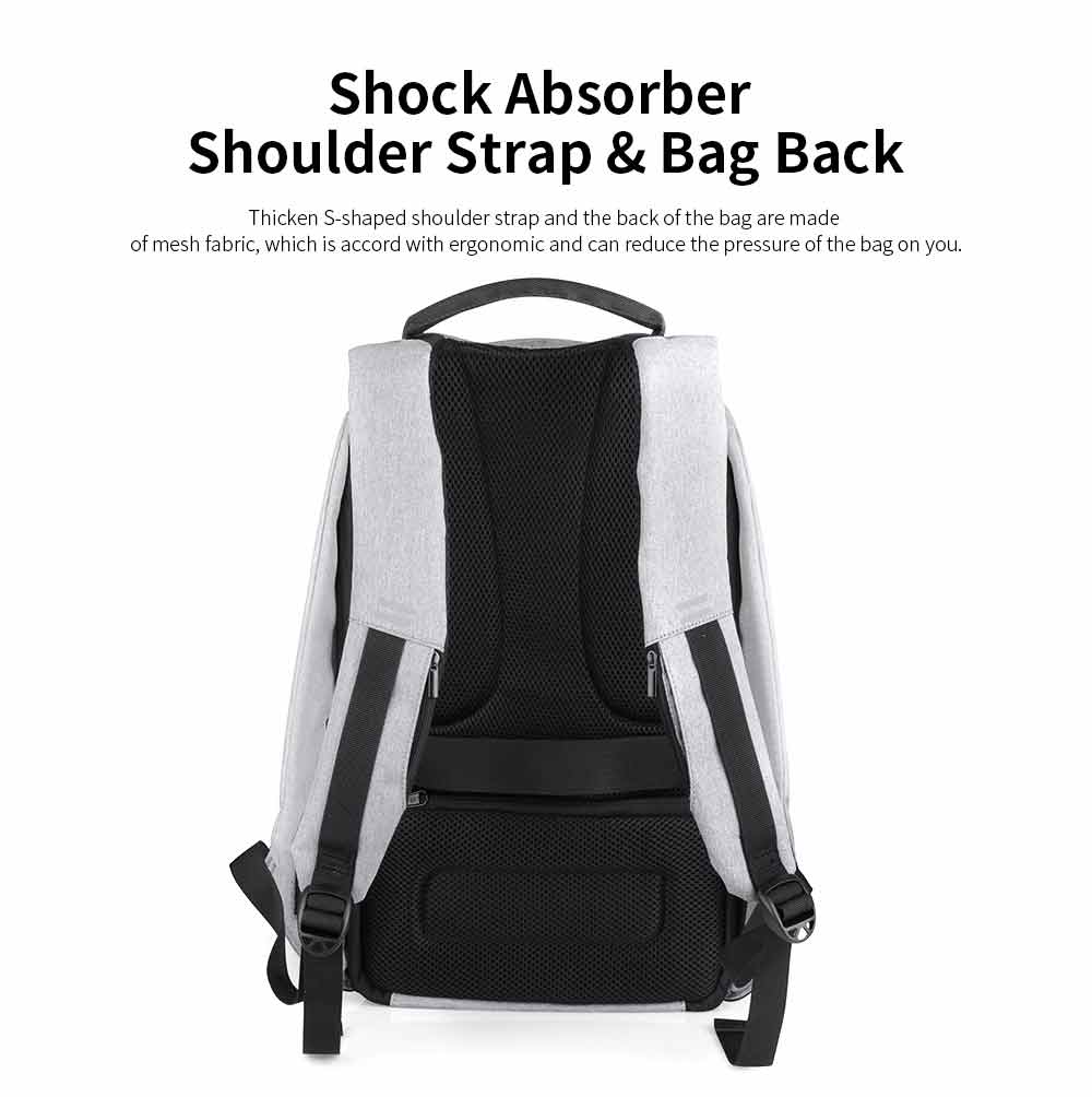 Business Waterproof Scratch-proof Oxford Cloth Casual Man Backpack, Anti-theft Shoulder Bag with USB Charging 4