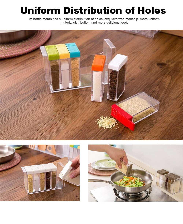 Transparent Plastic Seasoning Box, Six-Piece Set of Seasoning Bottle for Placing Salt, Sugar, Pepper 6