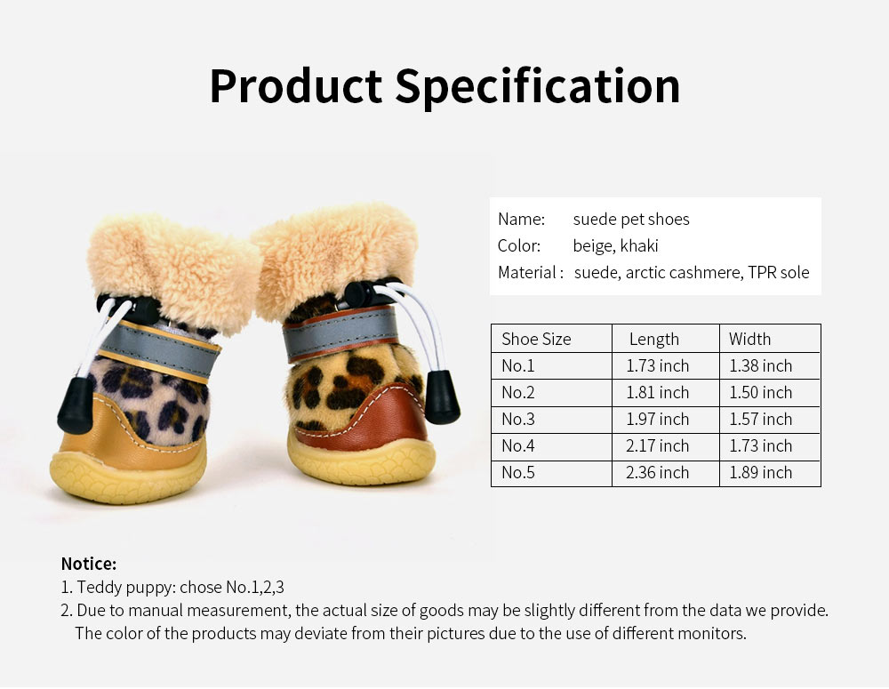 Fashion Leopard Print Suede Dog Shoes Apparel Pet Boots, Autumn and Winter Warm Pet Boots with Wear Resistant TPR Sole 6