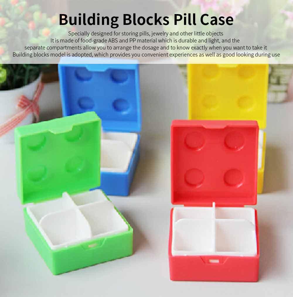 Colorful Building Blocks Pill Case, Mini Accessories Storage Box Cute Tablet Pill Medicine Organizer Container 0