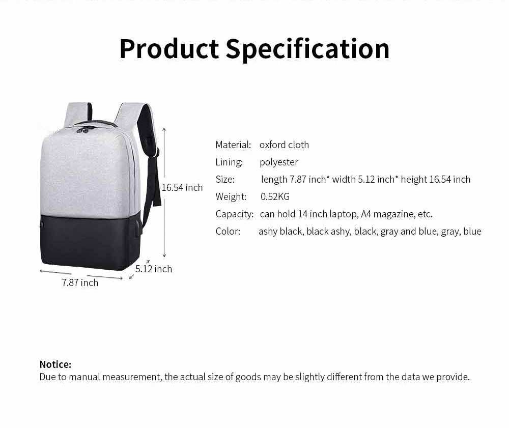 Minimalist Oxford Cloth Casual Student Backpack, Humanized Waterproof Shoulder Bag Travel Bag Laptop Bag with USB Charging 8