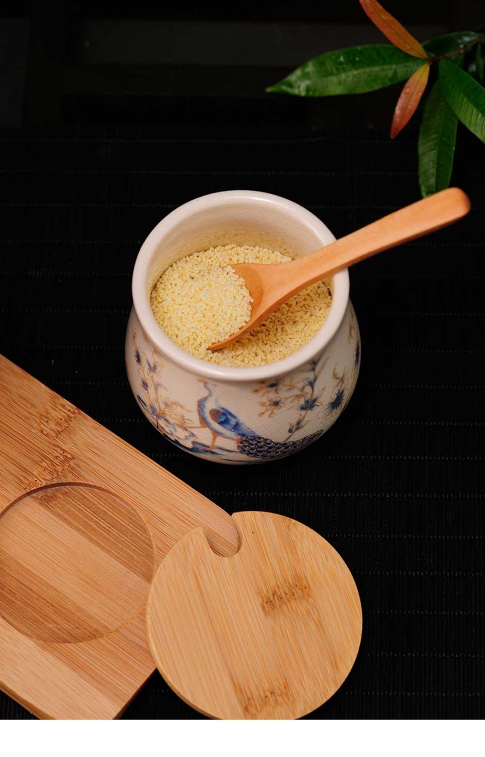 Three-piece Ceramic Seasoning Jar Set, Bamboo and Wood Ceramic Seasoning Bottle Set, with Wood Bracket 10