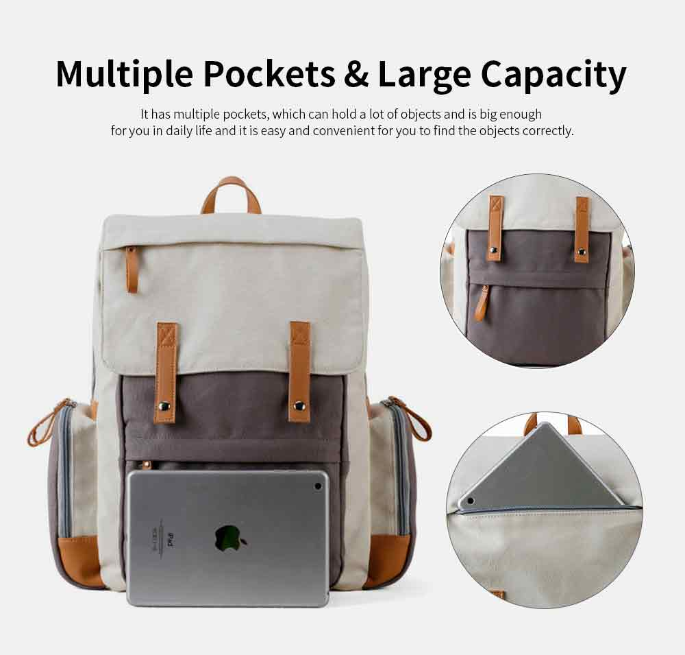 Multifunctional Tactical Pouch Cotton Canvas Backpack, Minimalist Casual Travelling Bag Laptop Bag, Large Capacity 4