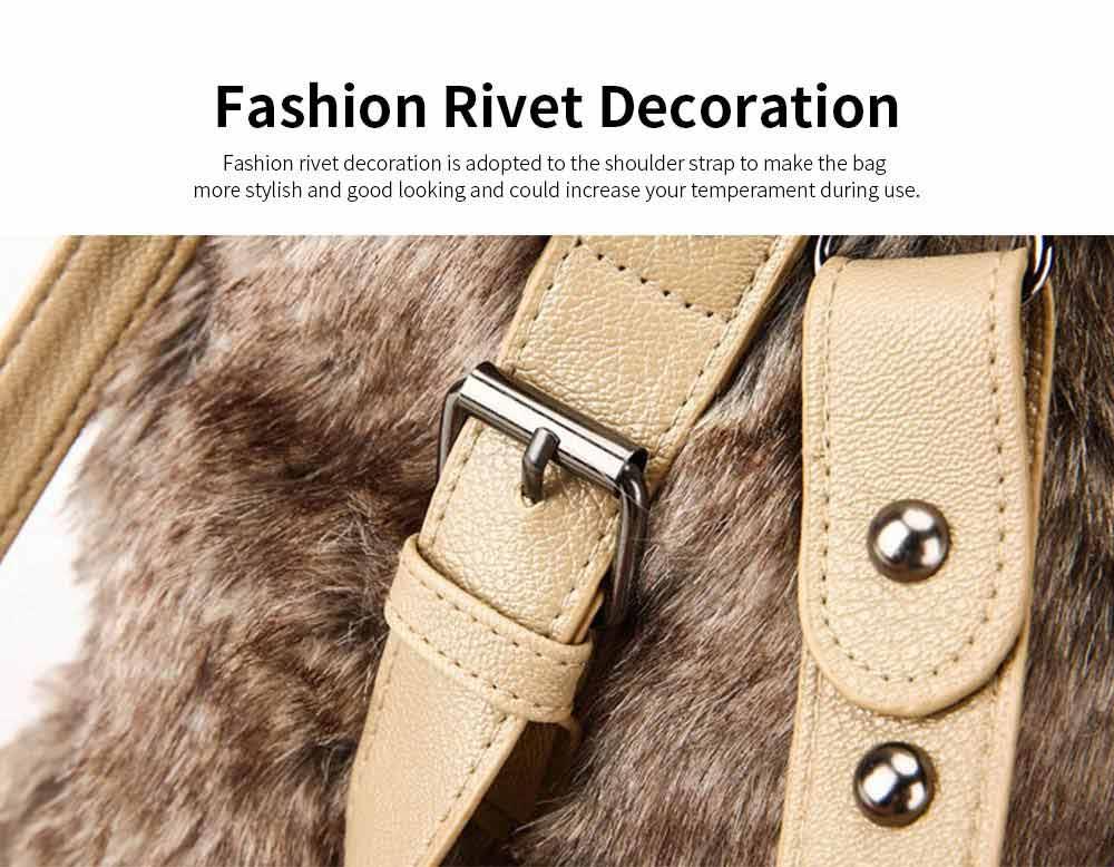 Luxury Fashion Warm Plush Women Bag with Three Methods of Use, Tote Messenger Crossbody Shoulder Bag Satchel Handbag 5