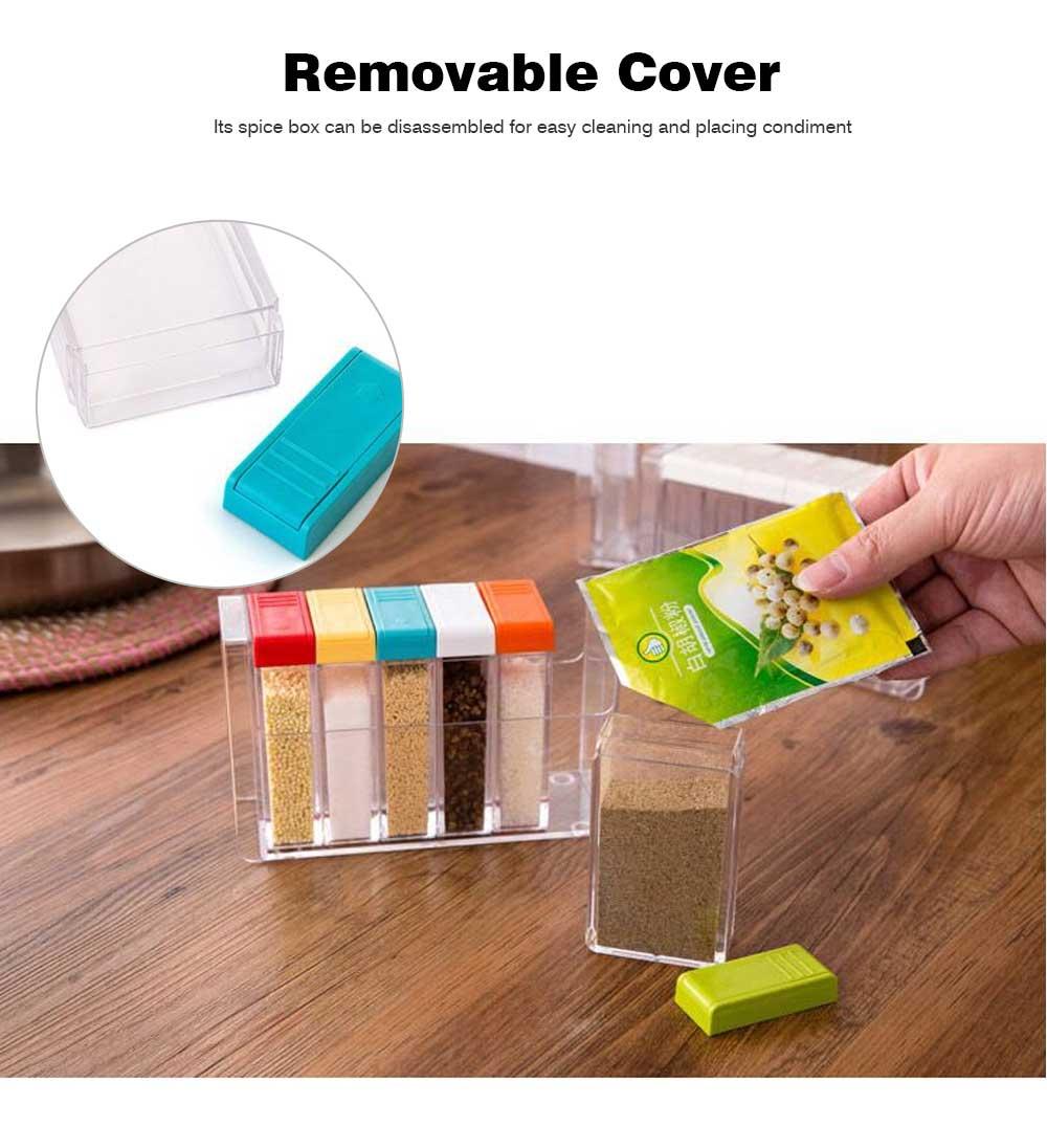 Transparent Plastic Seasoning Box, Six-Piece Set of Seasoning Bottle for Placing Salt, Sugar, Pepper 5