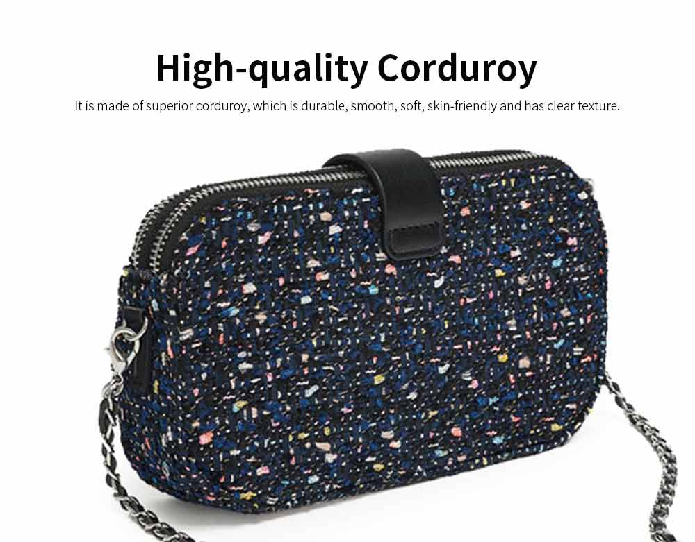 Delicate Paillette Twill Corduroy Mini Quilted Chain Shoulder Bag, Fashion Double-deck Dark Blue Crossbody Handbag 1