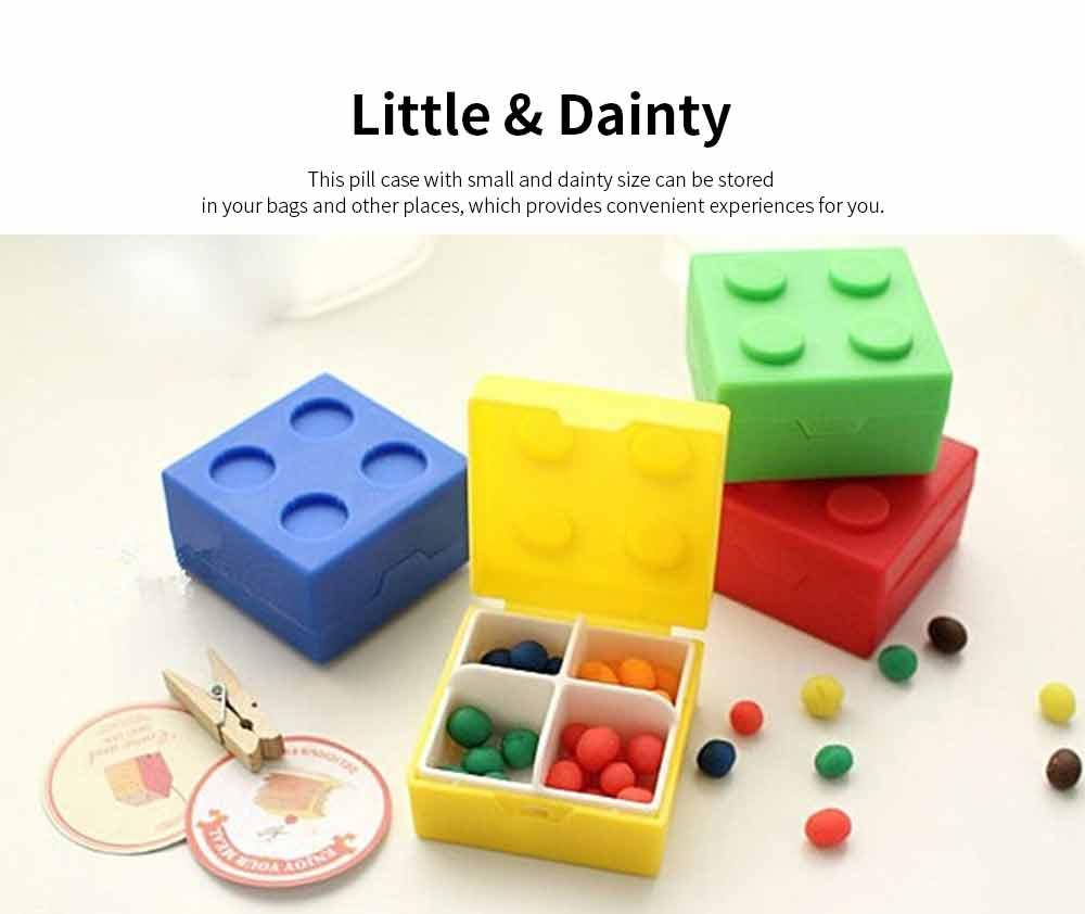 Colorful Building Blocks Pill Case, Mini Accessories Storage Box Cute Tablet Pill Medicine Organizer Container 3