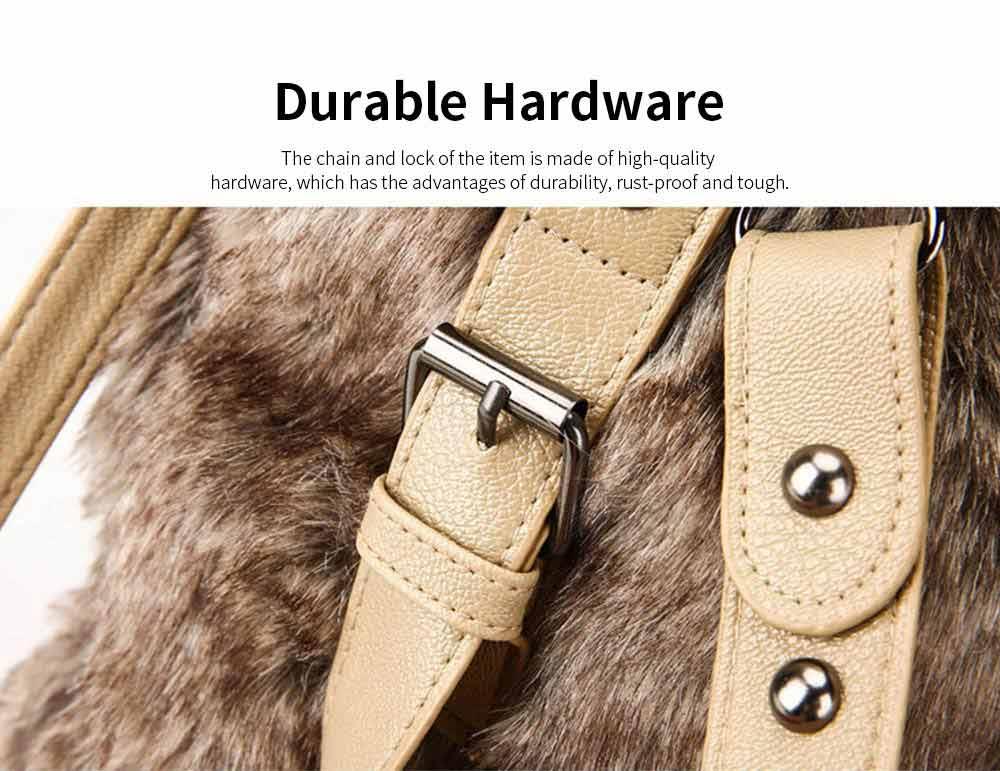 Luxury Fashion Warm Plush Women Bag with Three Methods of Use, Tote Messenger Crossbody Shoulder Bag Satchel Handbag 2