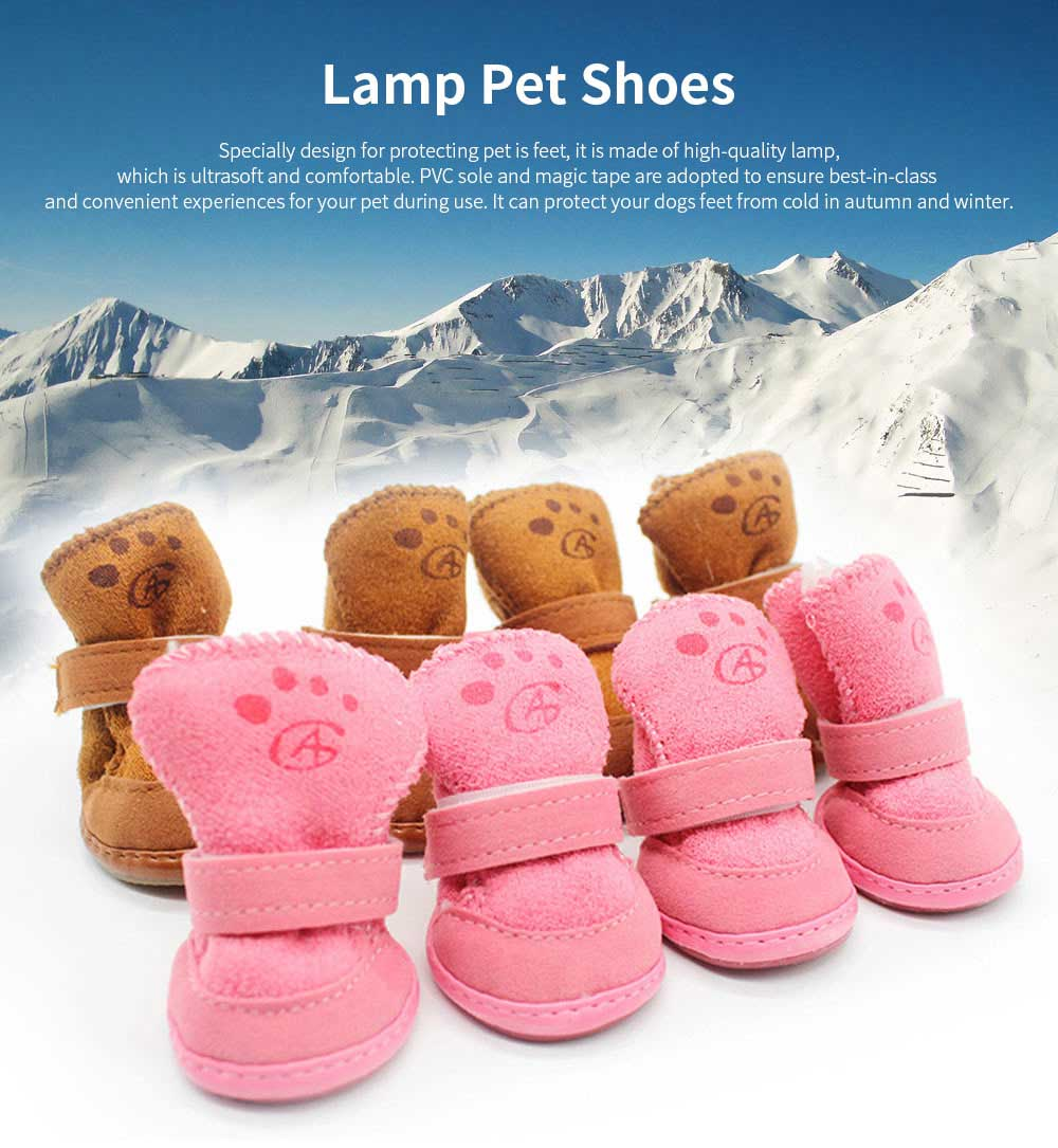 Cute Lamp Dress Up Puppy Shoes Apparel Pet Boots, Autumn and Winter Snow Warm Pet Boots with Magic Tape 0