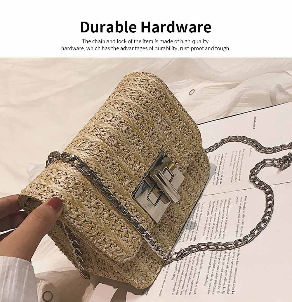 Fashion All-match Straw Weaving Women's Cross Body Shoulder Bag, Small Knit Handbag Satchel Messenger Shopping Purse 9