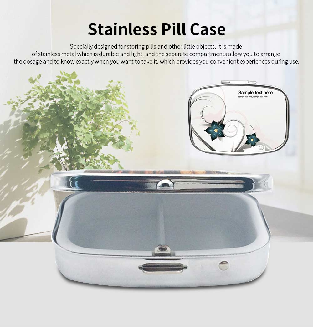 Portable Stainless Silver Rectangle Pill Case with Flora Pattern Epoxy Tickers, 2 Slots Metal Mini Medicine Chest Daily Pill Box 0