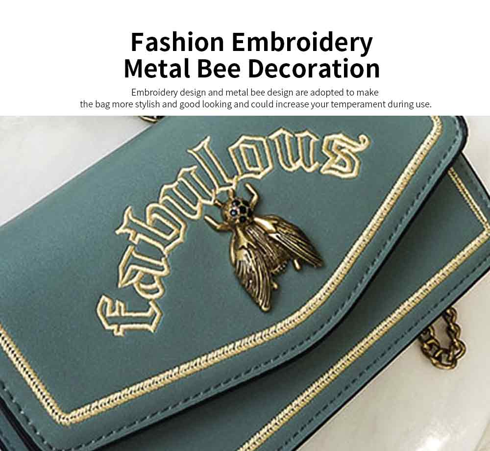 Vintage Embroidery Small Women Bag with Metal Bee Decoration, Ladies Shoulder Bag Clutch Handbag with Metal Chain 5