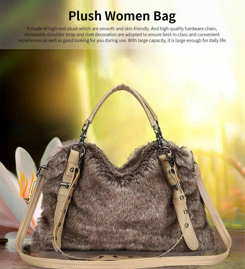 Luxury Fashion Warm Plush Women Bag with Three Methods of Use, Tote Messenger Crossbody Shoulder Bag Satchel Handbag 0