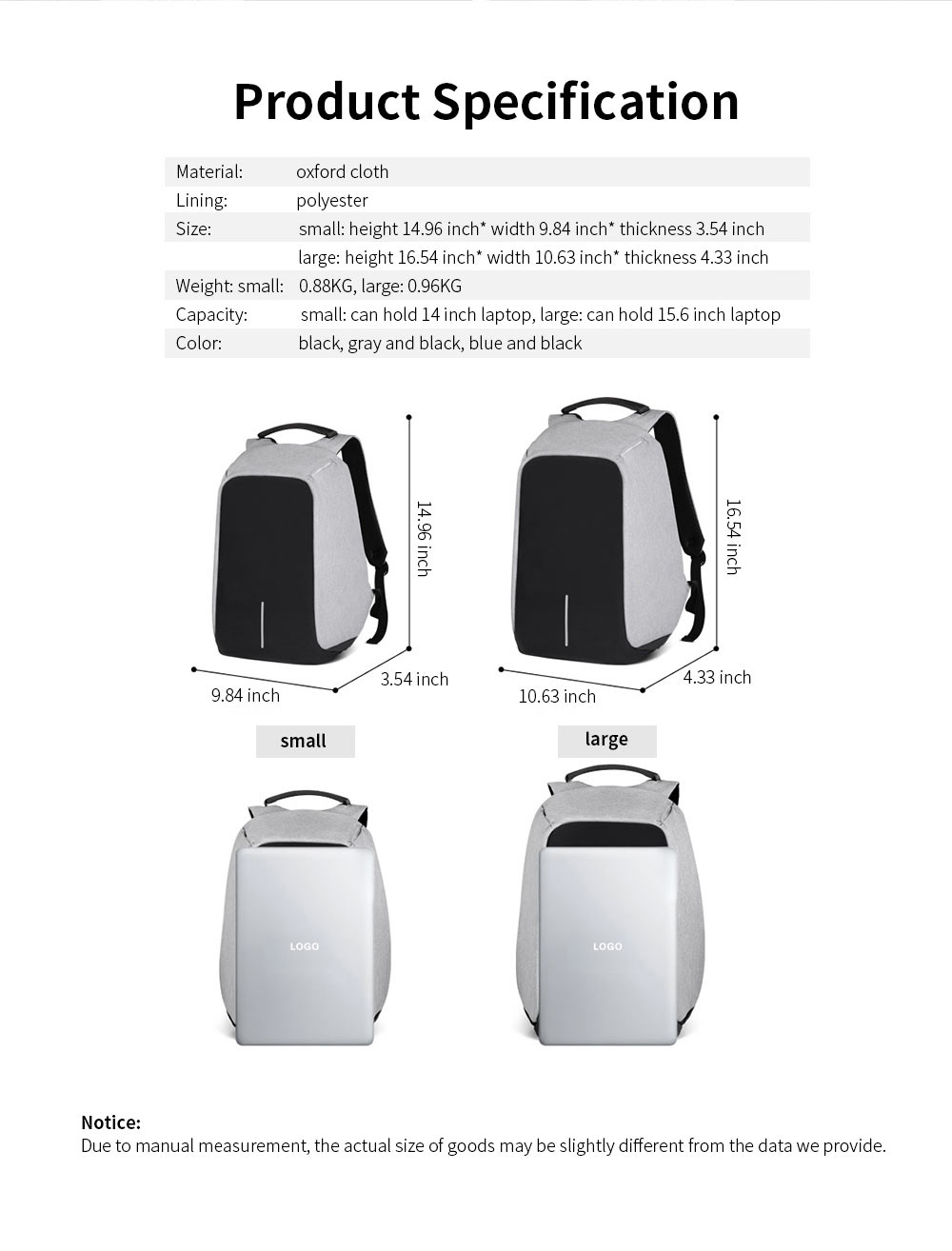 Business Waterproof Scratch-proof Oxford Cloth Casual Man Backpack, Anti-theft Shoulder Bag with USB Charging 8