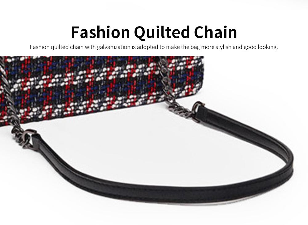 Ladies Quilted Chain Cross Body Hand Bag, Fashion Plaid PU Leather Beads Decoration Women Shoulder Bag 5