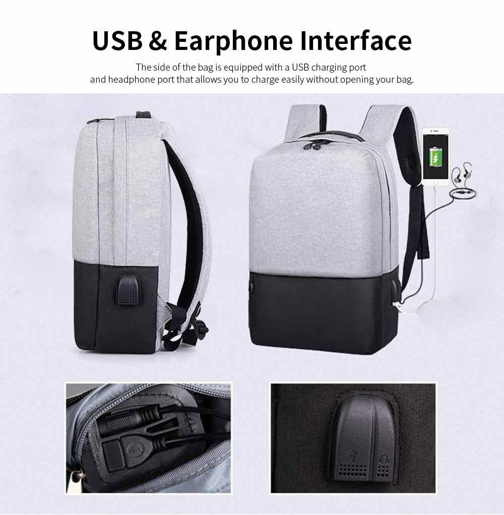 Minimalist Oxford Cloth Casual Student Backpack, Humanized Waterproof Shoulder Bag Travel Bag Laptop Bag with USB Charging 3