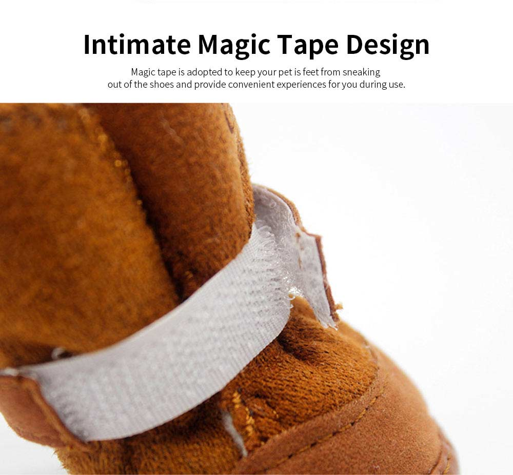 Cute Lamp Dress Up Puppy Shoes Apparel Pet Boots, Autumn and Winter Snow Warm Pet Boots with Magic Tape 2